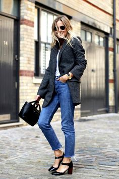 Bloglovin Blog Parisian Inspired Style Round Sunglasses Neck Scarf Slouchy Grey Blazer Round Watch Mini Tote Cropped Raw Hem Jeans Ankle Strap Heels Via Lucy Williams Fashion Me Now