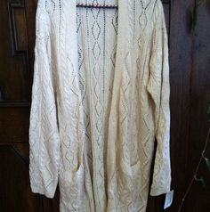 New ~ Free People Ivory & Gold Cable Knit Sweater ~ Boho Hippie Size Large ~