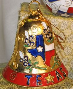 Cloisonne Bell Ornament with State of Texas