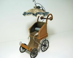 Wicker Perambulator for a Dolls Doll by Wickerville on Etsy, $385.00   For the well-to-do American Girl doll, for her own doll?