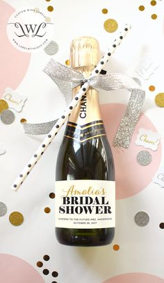 Custom Bridal Shower Mini Champagne Bottle Labels Weatherproof Wedding Favors Thank You Bachelorette Party