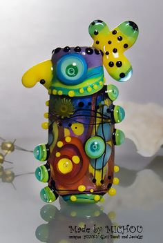 Crazy Chicken  Abstract Art Glass Bead by Michou by michoudesign, $109.00