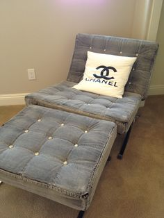 Fashion inspired home decor - Chanel inspired denim chair with pearl buttons  ||  Hall and Saks