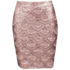 Missi Scallop Rose Gold Sequin Skirt (340 ARS) ❤ liked on Polyvore featuring skirts, sequin skirt, zipper skirt, fitted skirts e scalloped skirt