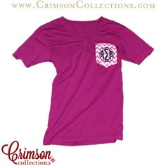 Now available at Crimson Collections the Alpha Sigma Alpha raspberry chevron monogram pocket t!