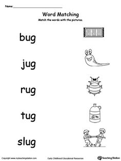 **FREE** UG Word Family Picture and Word Match Worksheet.Topics: Word Families, Reading, and Phonics. Free Kindergarten Worksheets, Reading Worksheets, Phonics Worksheets, Learning Activities, Phonics Reading, Kindergarten Reading, Reading Comprehension, Preschool Learning, Teaching