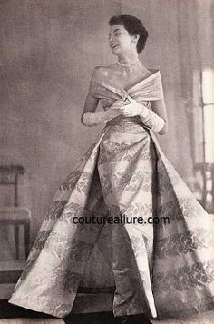 1950s gown with overskirt