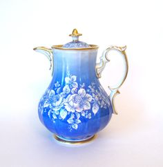 Carl Tielsch & Co TPM Antique Handpainted Teapot Floral Blue White and Gold - Germany Circa 1850 by HouseofLucien, $225.00