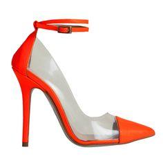 Stiletto Berta vinilo charol naranja flúor MAS34 http://www.mas34shop.com/tienda/categoria/salones/