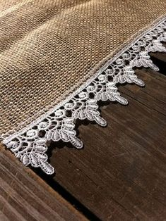 Burlap and Lace Placemats Country Wedding Burlap and Lace Tableware Placemat Burlap Projects, Burlap Crafts, Fabric Crafts, Sewing Crafts, Sewing Projects, Table Runner And Placemats, Burlap Table Runners, Lace Table, Lace Wedding Decorations