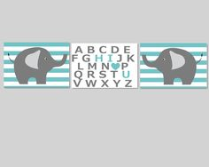 Nursery Wall Decor- Prints for Nursery- Set of 3 Prints Teal and Gray Elephants with Hi I Love You Alphabet-Set of 3 8x10. $40.00, via Etsy.