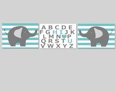 Nursery Wall Decor- Prints for Nursery- Set of 3 Prints Teal and Gray Elephants with Hi I Love You Alphabet-Set of 3 8x10. $40.00, via Etsy.
