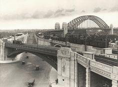 1932 Sydney Harbor Bridge North Approach under traffic (State Records NSW)