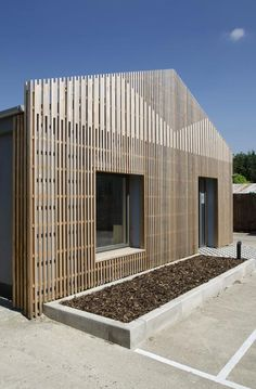 cedar slats facade screen  -Gort Scott Studio