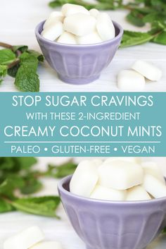 Sugar cravings? These creamy coconut mints help stop them by 1) curbing appetite and 2) keeping you satiated with healthy fats. Plus they're only 2-ingredients, and the healthy recipe is paleo, gluten-free, and vegan. The yummiest way to stop sugar cravings!