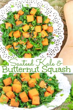 Sauteed Kale & Butternut Squash recipe - Vegetarian or Vegan Side Dish for Thanksgiving or Fall. Includes step by step how to cook instructions. Use as a side dish, on top of a grain bowl, or even filling for a wrap or quesadilla. Vegan, Vegetarian, Gluten Free, Keto / Running in a Skirt #thanksgiving #vegetarian #sidedish #kale #healthy #healthyliving Sauteed Kale, Butternut Squash, Cantaloupe, Fruit, Food, Essen, Squash, Yemek, Crookneck Squash