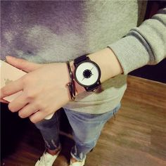 Hot Sale Fshion Brand Watches Men Women Quartz Clock New Design Unique Lovers' Wrist Watch Casual Black White Watch Leather Band Casual Watches, Cool Watches, Watches For Men, Women's Watches, Unique Watches, Elegant Watches, Beautiful Watches, Luxury Watches, Trendy Watches