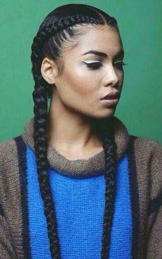 french braids, tight long thin x