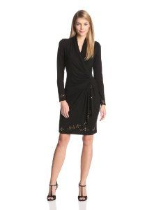 Karen Kane Women's Royal Flush Cascade Wrap Dress
