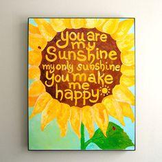 Childrens Wall Art for Girls PRINT, You Are My Sunshine, Yellow Sunflower No.2, 8x10, Girls Nursery Decor