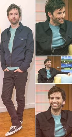 Oh look. Hes wearing converse. I think NOT! David Tennant on Good Morning Britain, 18 Nov 2015 All Doctor Who, 10th Doctor, Pretty Men, Gorgeous Men, Hot Scottish Men, Good Morning Britain, Broadchurch, John Watson