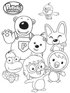tayo group coloring page | Tayo the little bus, Little bus ...