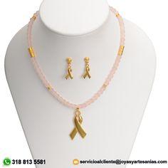 Set Collar cristal checo rosado 6mm, dije Cordón Esperanza y aretes baño en oro de 24k, $124.900 http://www.joyasyartesanias.com/set-collar-cristal-checo-rosado-6mm-dije-cordon-esperanza-y-aretes.htm