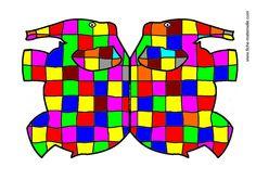 Elmer pliage et coloriage Art Plastique, Literacy, Logos, Albums, Alphabet, Art Ideas, Gems, Carnival, Animales