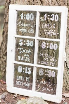 creative wedding details - love this rustic window sign for a day-of wedding timeline!