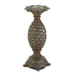 Cool Tropical Pineapple Design Bronze Finish Pedestal Candle Holder - Large | Aspen Country