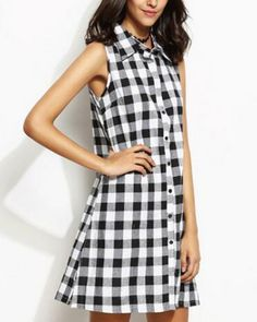 Black and white plaid shirt dress with slit sleeveless for teenage girls