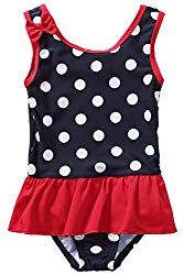 JELEUON Baby Girls Toddler Kids Bubble Skirt One Piece Princess Swimsuits Swimdress with Hat