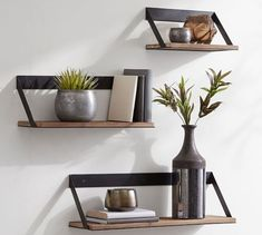 Trenton Aged Wood & Iron Shelves