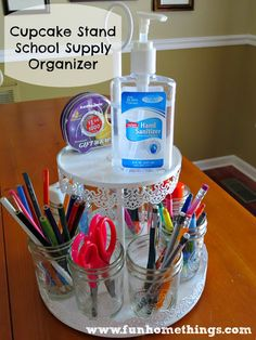 Back-To-School Organization Ideas--Cupcake Stand School Supply Organizer http://www.funhomethings.com/2013/08/cupcake-stand-school-supply-organizer.html