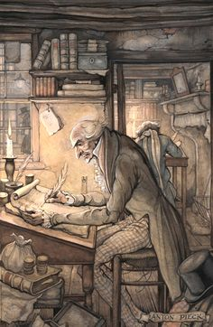 Scrooge by Anton Pieck, Dutch artist, 1895-1987, illustrated the Dutch publication of Dickens's A Christmas Carol.