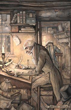 Illustratie van Scrooge op zijn kantoor, uit A Christmas Carol van Charles Dickens. Pieck maakt in totaal 12 illustraties bij deze uitgave: 6 zwart-wit en 6 kleur. Potlood en waterverf, 1953/1954.