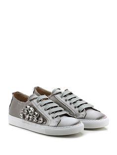 d21d56d1c2776 RAS - Sneakers - Donna - Sneaker in tessuto raso con interno in pelle con  pietre