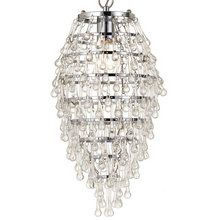 """View the AF Lighting 8122-1H Elements Series """"Crystal Teardrop"""" Chandelier with Clear Drop Glass, Finished in Chrome at LightingDirect.com."""