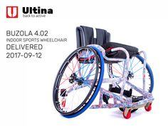 Ultina sports wheelchair with a lot of non-standard elements and aspects making the chair as short and agile as possible. Sports Wheelchair, Wheelchairs, Basketball, Bicycle, Indoor, Interior, Bike, Bicycle Kick, Bicycles