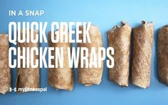 Quick and Healthy Greek Chicken Wraps Recipe Make a nutritious lunch in no time flat with Greek style chicken wraps by combining rotisserie chicken, veggies and hummus on a flour tortilla. Chicken Wraps, Chicken Wrap Recipes, Recipe Chicken, Recetas Myfitnesspal, Greek Style Chicken, Under 300 Calories, My Fitness Pal, Health Fitness, Fitness App