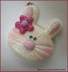 Polymer Clay Charm Glitter Bunny Head Pink by michellesclaybeads