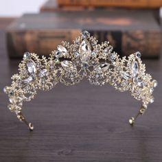 Light Gold Baroque Luxury Crystal Bridal Crown Tiara Wedding Hair Accessories - Uniqistic.com #weddingcrowns