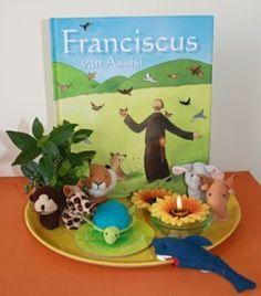 Kijktafel met boek FRansiscus en dieren