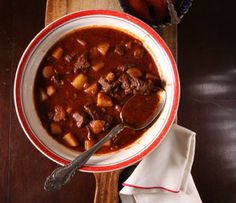 Hungarian Goulash  The recipe for this hearty, savory soup comes from Katalin Bánfalvi, author Carolyn Bánfalvi's mother-in-law, who lives in the village of Bõny, in northwestern Hungary. Hungarian sweet paprika confers a singularly deep, rich color and flavor.