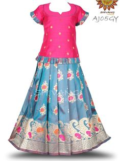 Semi silk Floral Mango motif border paired with peplum top. Sleeves are pleated. It's a beautiful attire for any special occasion. Kids Pattu Pavadai, Lehenga Online, Silk Lehenga, Lehenga Designs, Girls Wardrobe, Indian Ethnic Wear, Traditional Dresses, Kids Wear, Indian Outfits