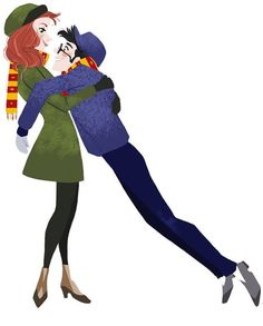 Young Lily Evans and James Potter, Harry Potter fan art.