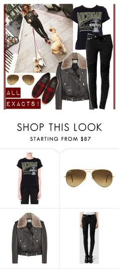 """""""ELEANOR CALDER INSPIRED OUTFIT <3"""" by costina-raftu ❤ liked on Polyvore featuring Maje, Ray-Ban, Acne Studios, AllSaints and Yves Saint Laurent"""