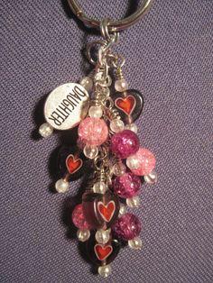 Pink and Purple Crackle Glass Bead Mini Dangle / Key Chain by FoxyFundanglesByCori, $5.00