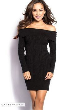 """""""Yvette"""" Sparkly Black Cable Knit Off Shoulder Tunic Sweater Dress"""