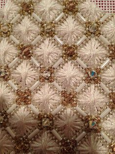 Intricate beads w/ silk Rhodes stitch